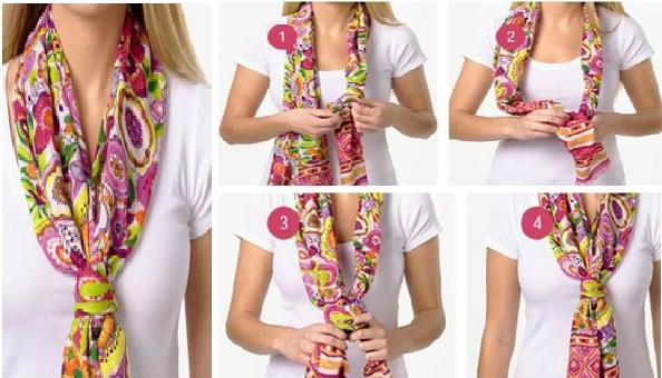 как завязать платок с низким узлом