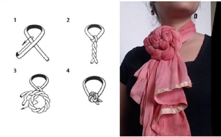 как завязать платок пышная роза на шее